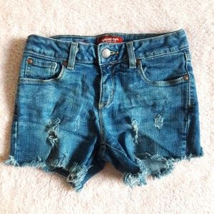Distressed Blue jean shorts with adjustable waist